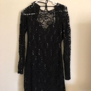 Mini Black Dress with little shinny beads